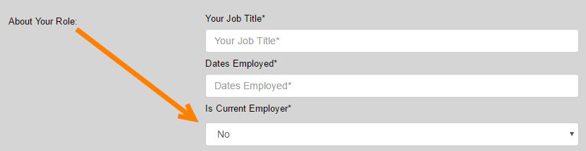 home current employer field within applicatio