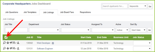 home create new template in add job listing a