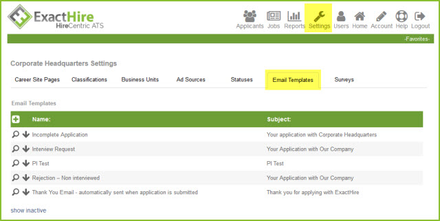 Home Using Email Templates In The Ats